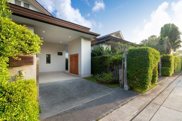Carport modern luxury house