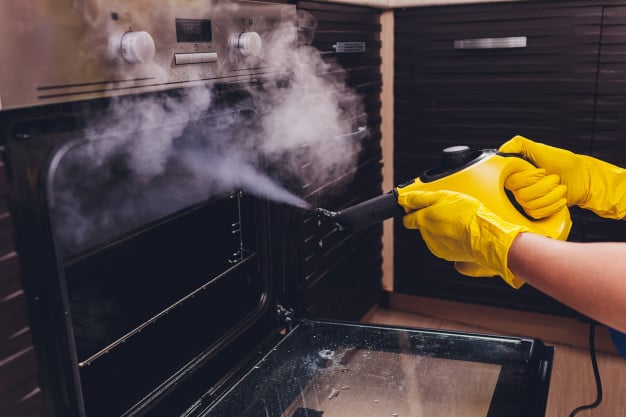 Steam cleaning oven close up