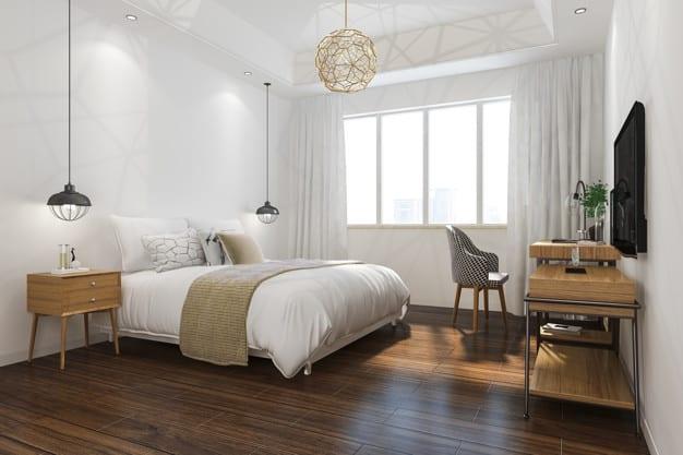 3d rendering orange vintage minimal bedroom suite