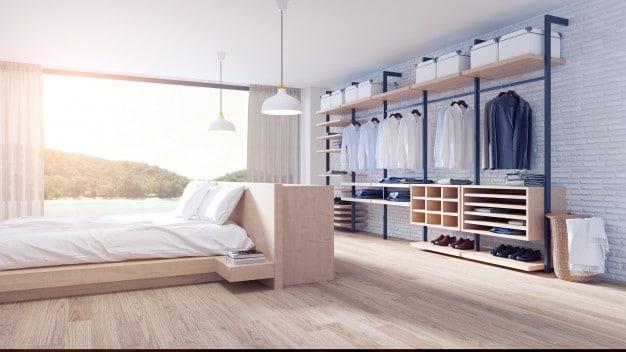Bedroom dressing room loft style interior design
