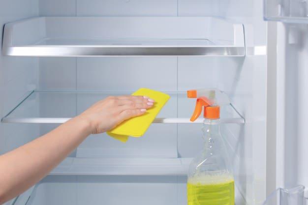 washing fridge hand cleaning