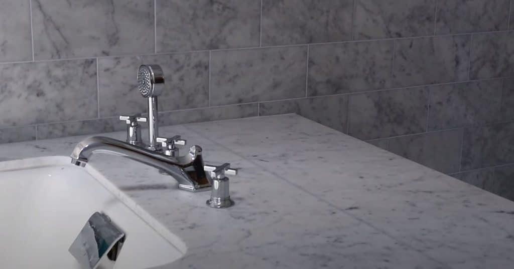 White marble bathroom vanity benchtop