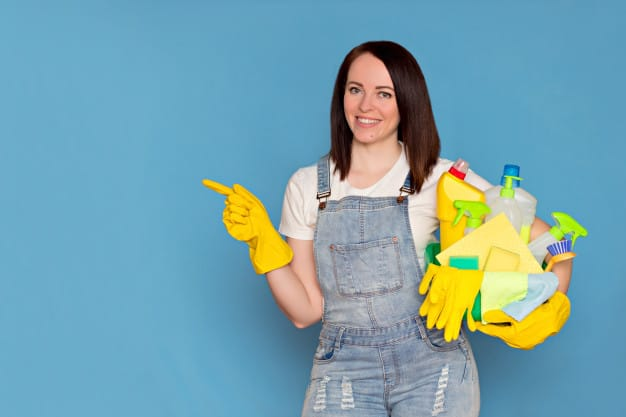 beautiful woman cleaning lady with bucket detergent rubber gloves