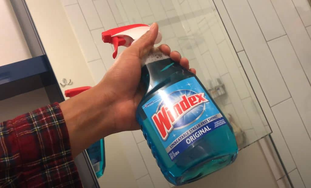 a man holding a bottle of windex