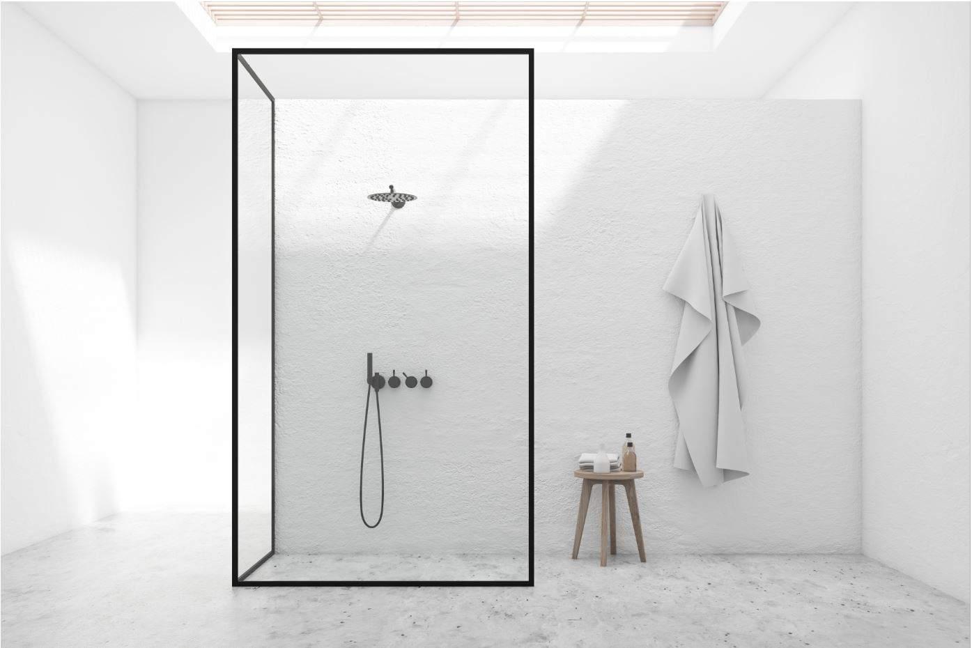 Modern shower with black matte black fixtures