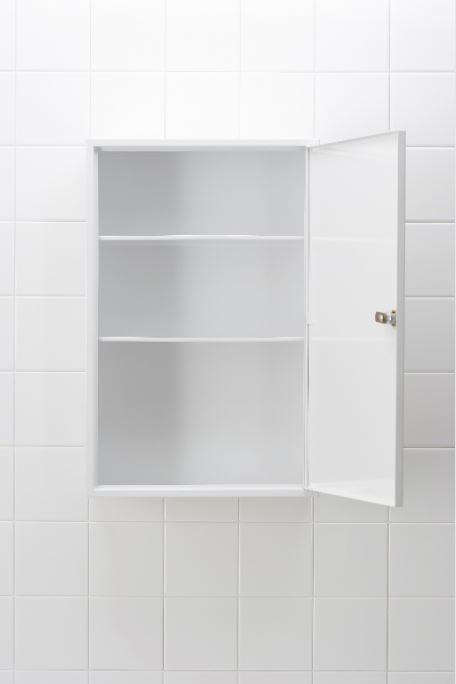 white empty bathroom cabinet