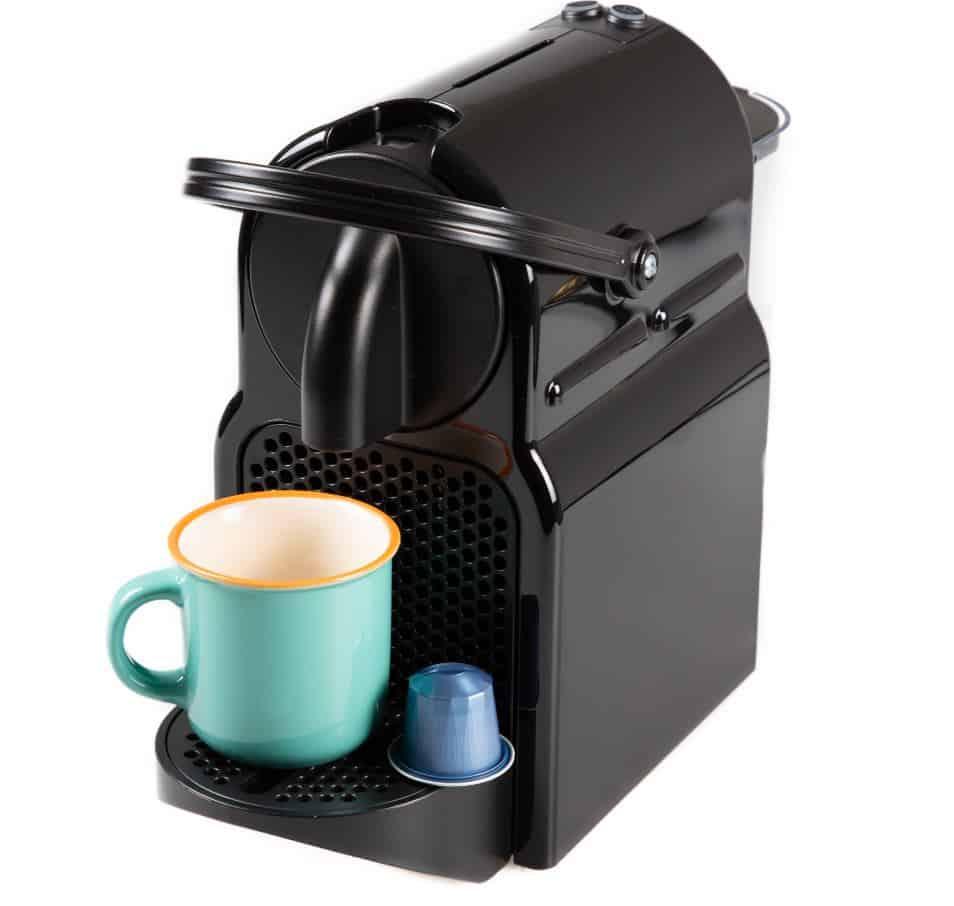 modern black coffee machine with coffee pods