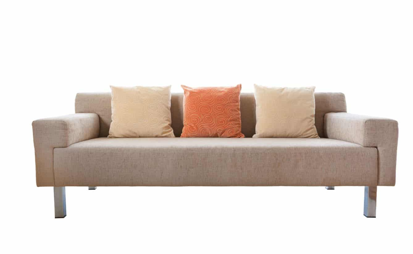 an upholstered brown couch with 3 cushions