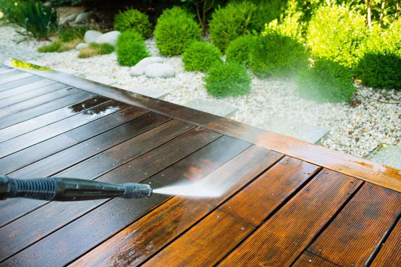 Black gerni pressure washing a patio