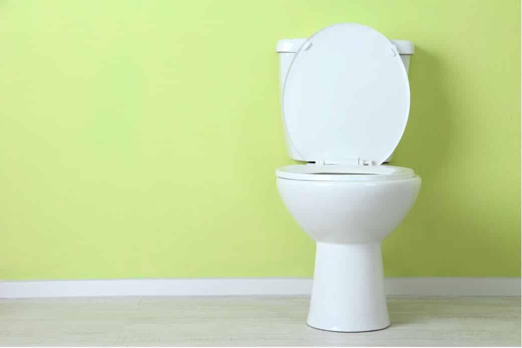 white porcelain toilet next to lime coloured wall